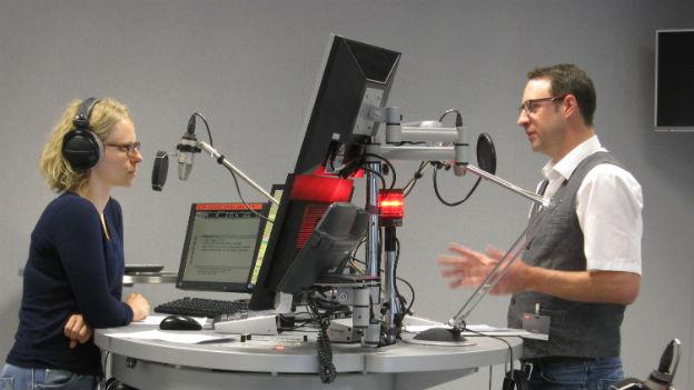 Aufnahme vom Live-Gespräch im Studio mit Patrick Benz vom Grenzwachtkorps.