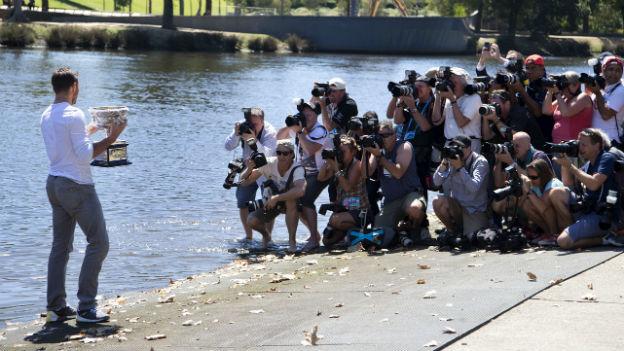 Stanislas Wawrinka am Yarra River in Melbourne nach dem Gewinn des Australian Open.