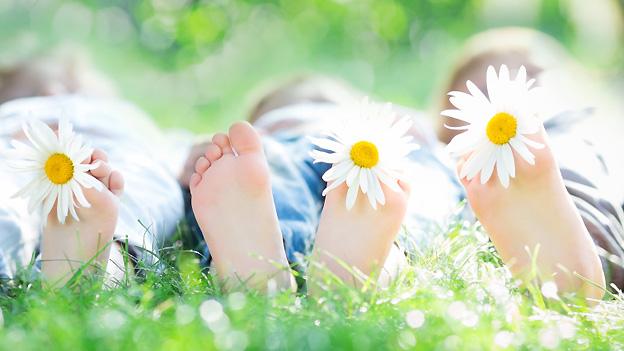 Kinder liegen in der Wiese, zwischen ihren nackten Zehen steckt je eine Margarite.