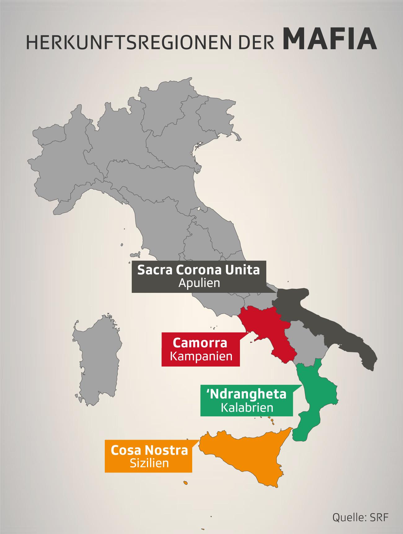 Italien-Karte mit Herkunftsregionen der Mafia-Gruppierungen