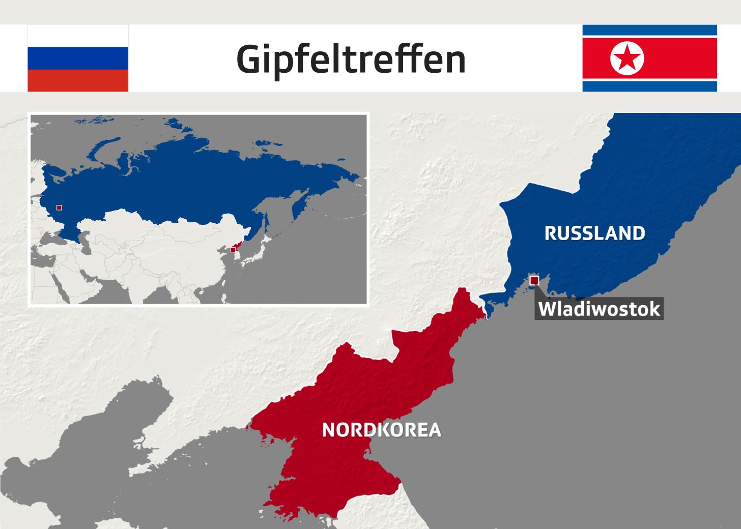 Karte zum russisch-nordkoreanischen Gipfeltreffen in Wladiwostok