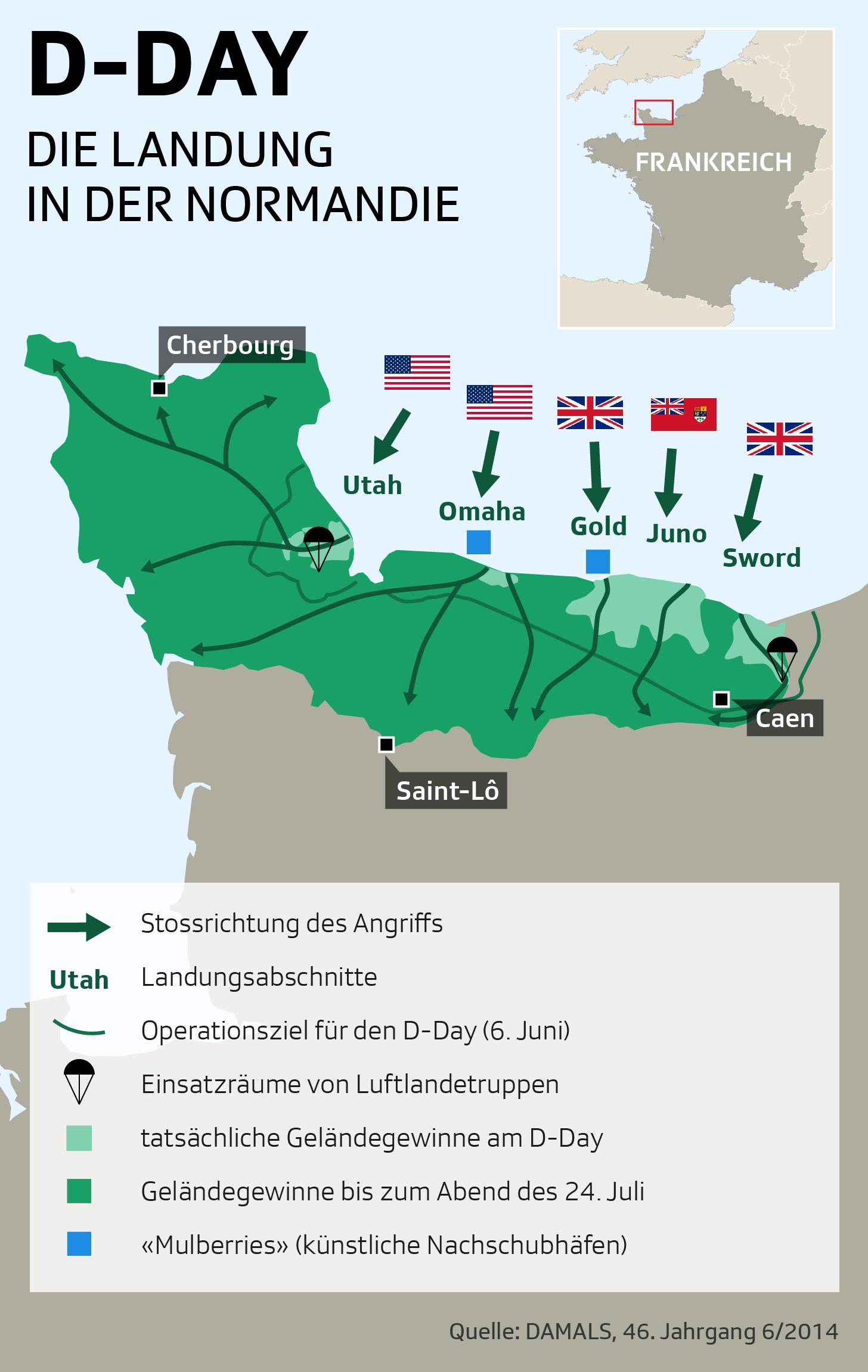 Karte mit den Landungsabschnitten der Alliierten in der Normandie