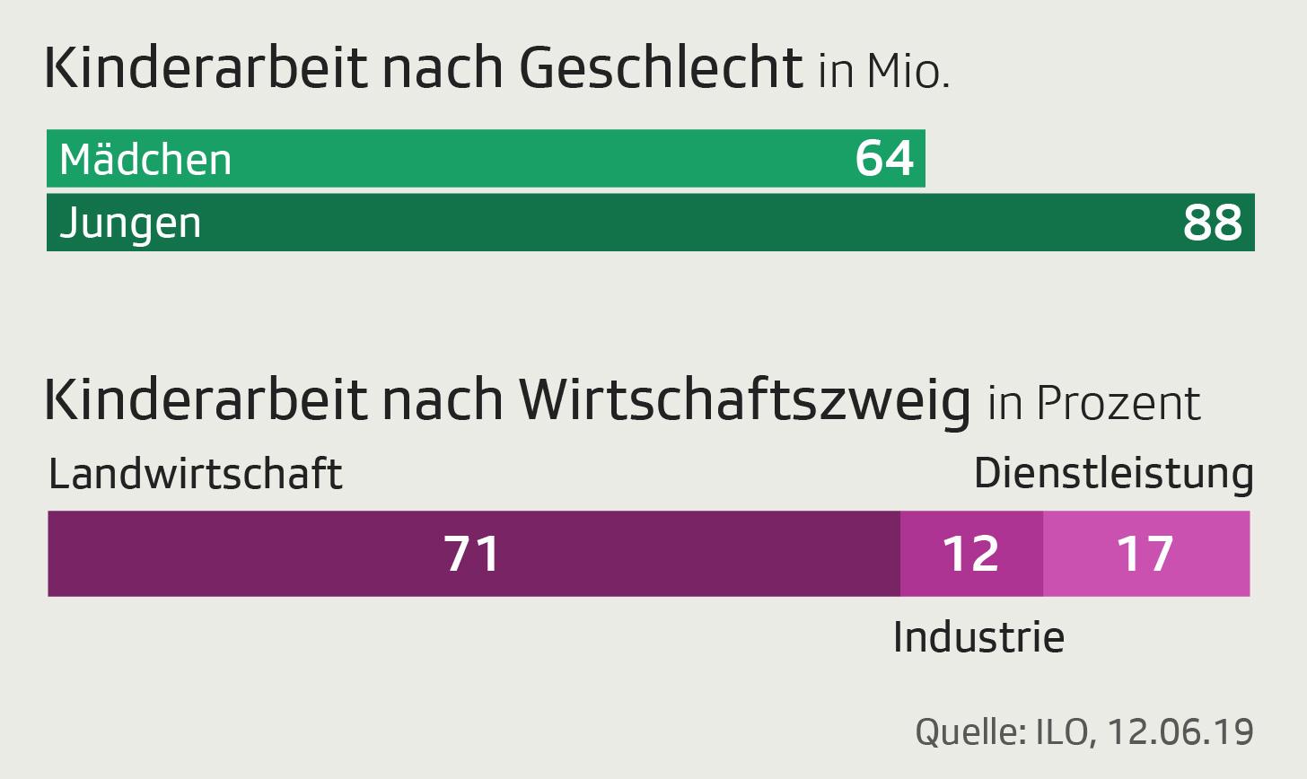 Grafik zeigt Anzahl von Kindern, die arbeiten müssen nach Geschlecht und Wirtschaftszweig