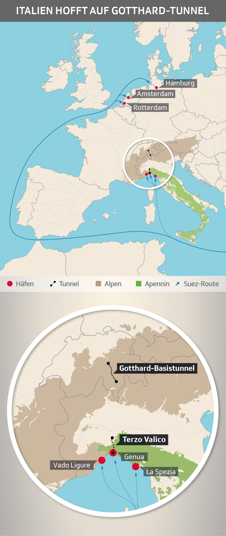 Italien hofft auf Gotthard-Tunnel