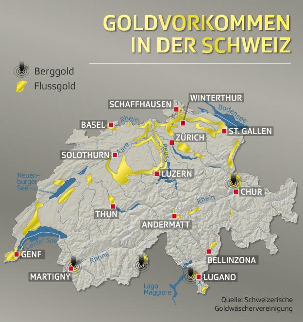 Goldvorkommen in der Schweiz
