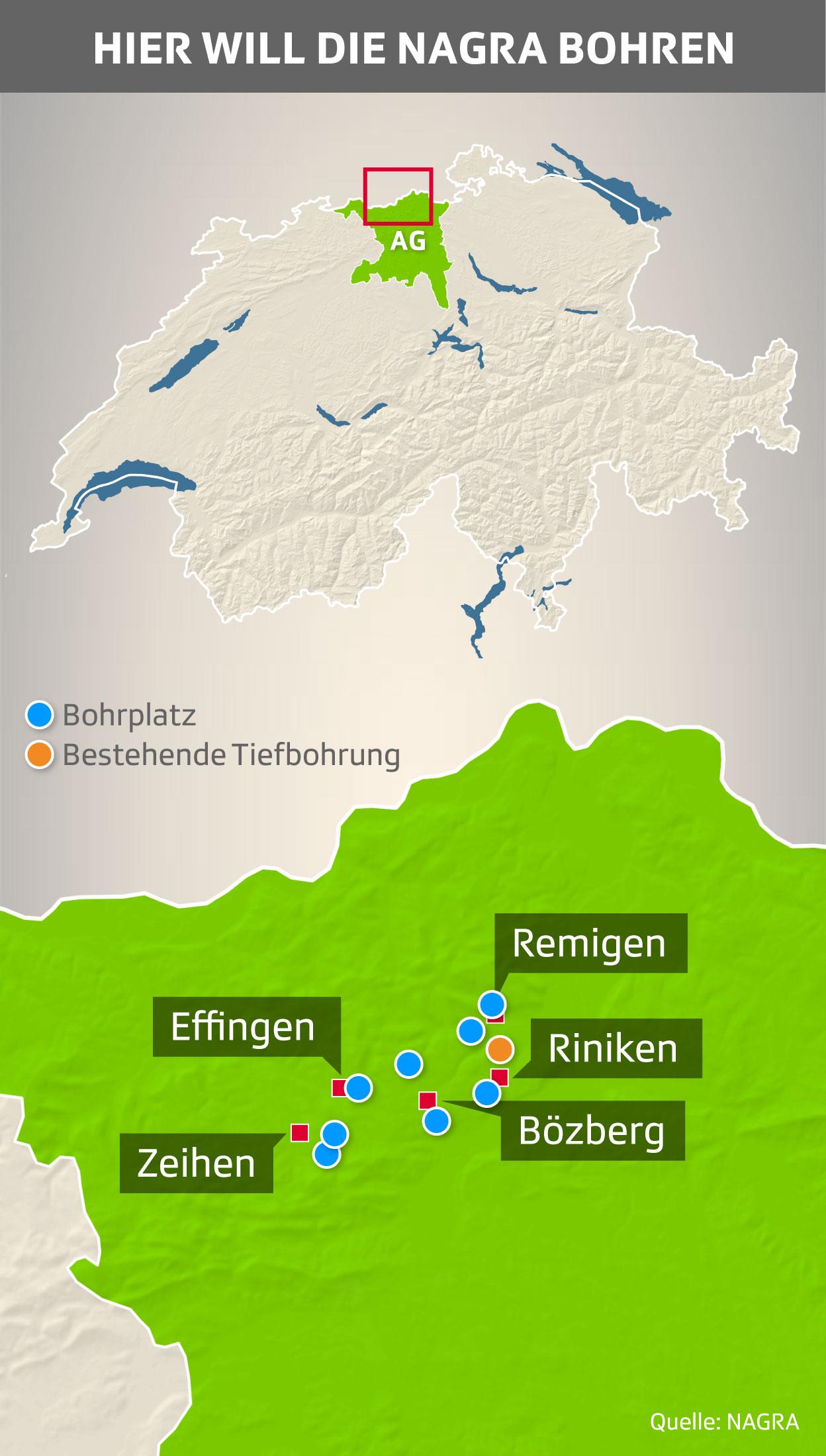 Nagra-Gesuche: Standorte für Sondierbohrungen im Kanton Aargau