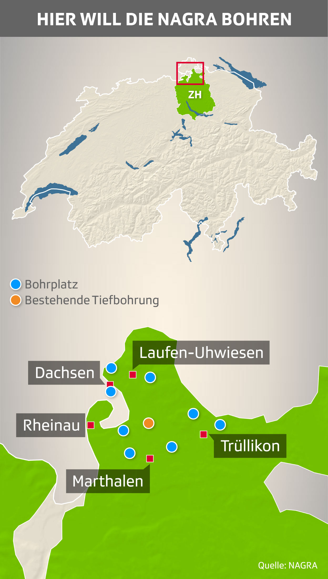 Nagra-Gesuche: Standorte für Sondierbohrungen im Kanton Zürich