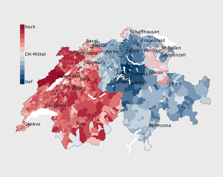 Grafik Steuerliche Belastung natürlicher Personen im schweizweiten Vergleich