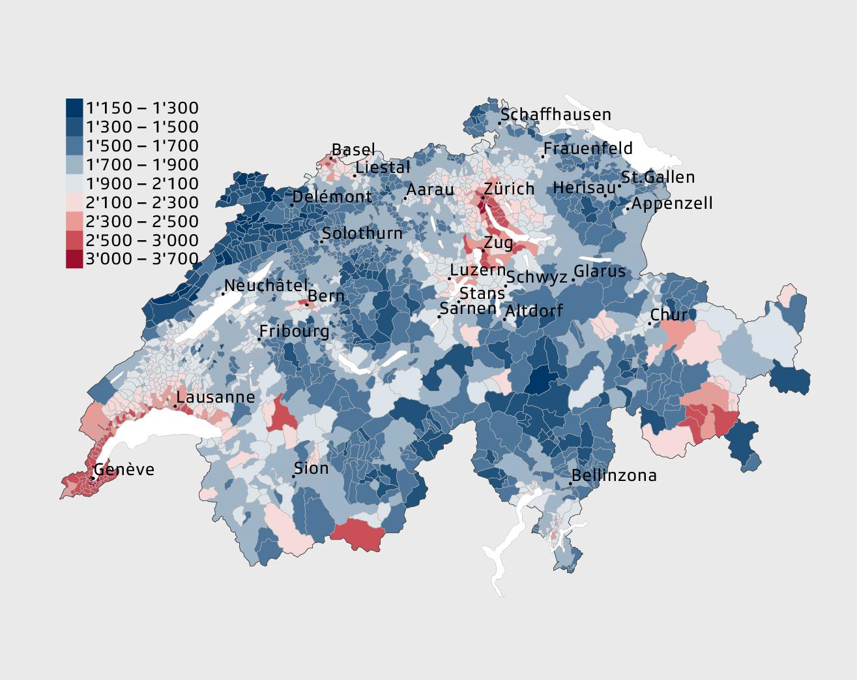 Schweiz-Karte mit Höhe der Monatsmiete für eine 4-Zimmer-Wohnung