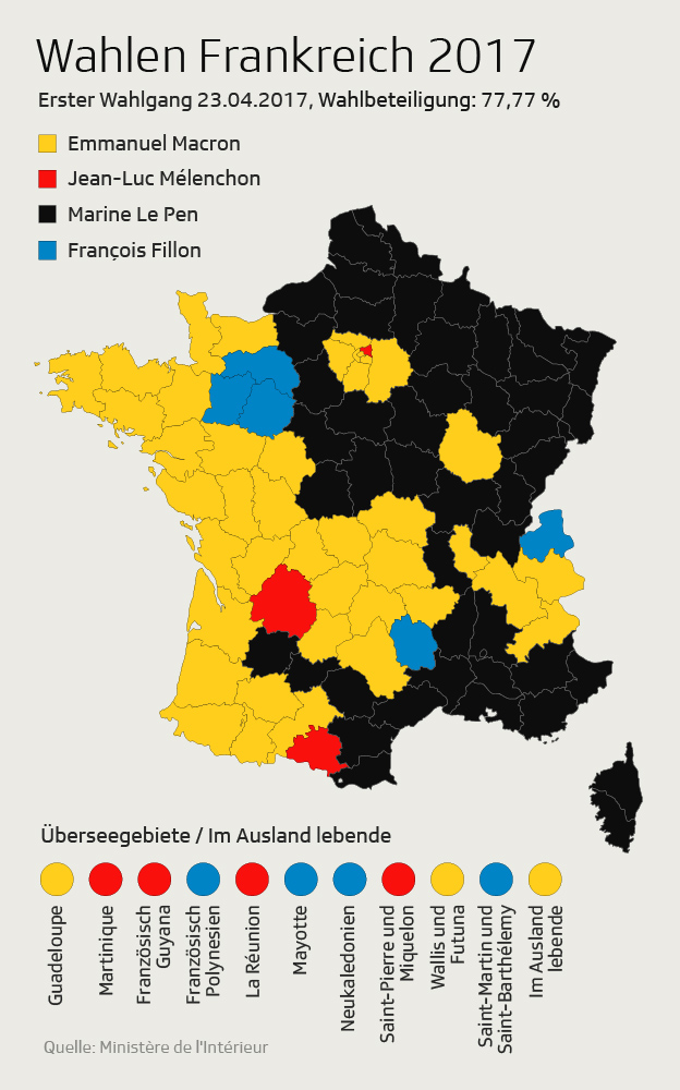 Karte Frankreich Wahlen