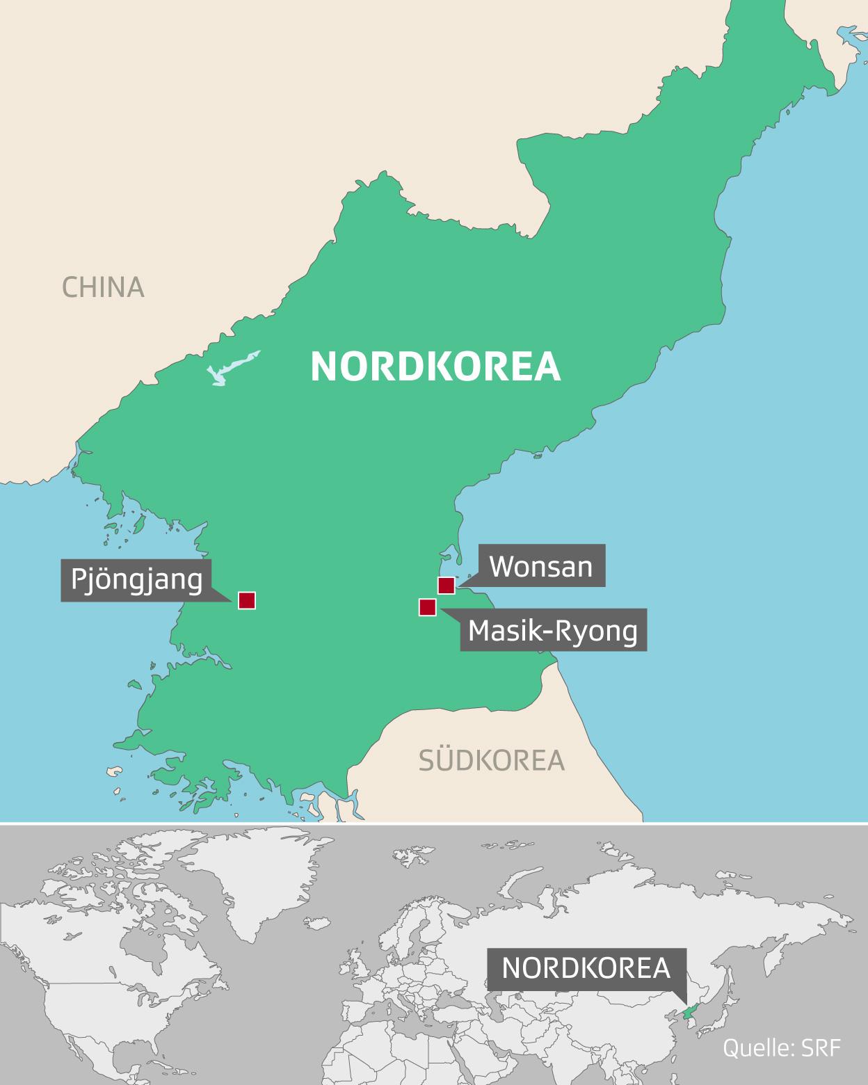 Karte von Nordkorea – die Reise führte durch diese drei Orte