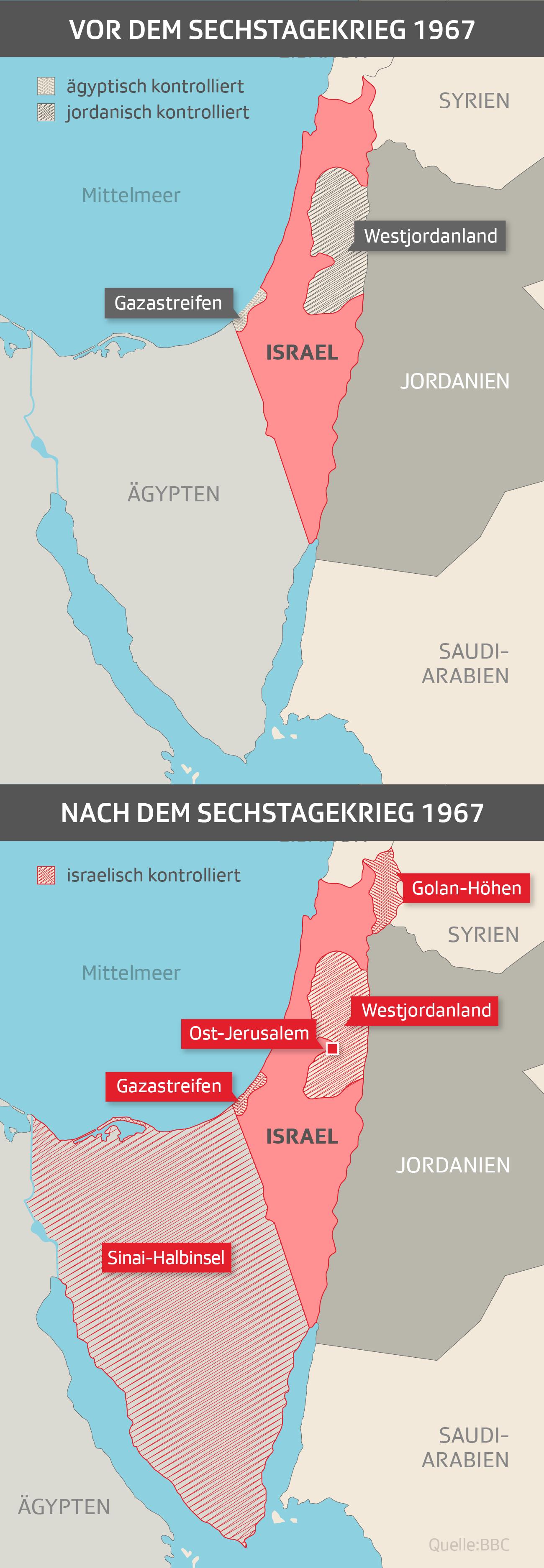 Grenzen nach dem Sechstagekrieg