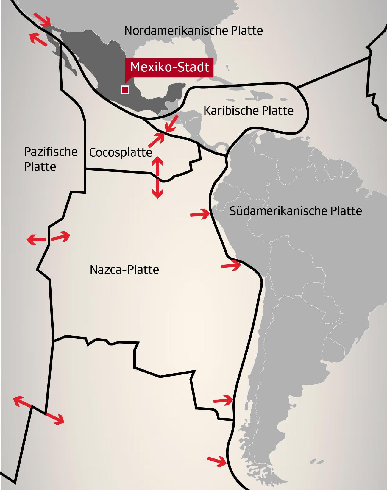 Die Tektonik-Platten rund um Mexiko