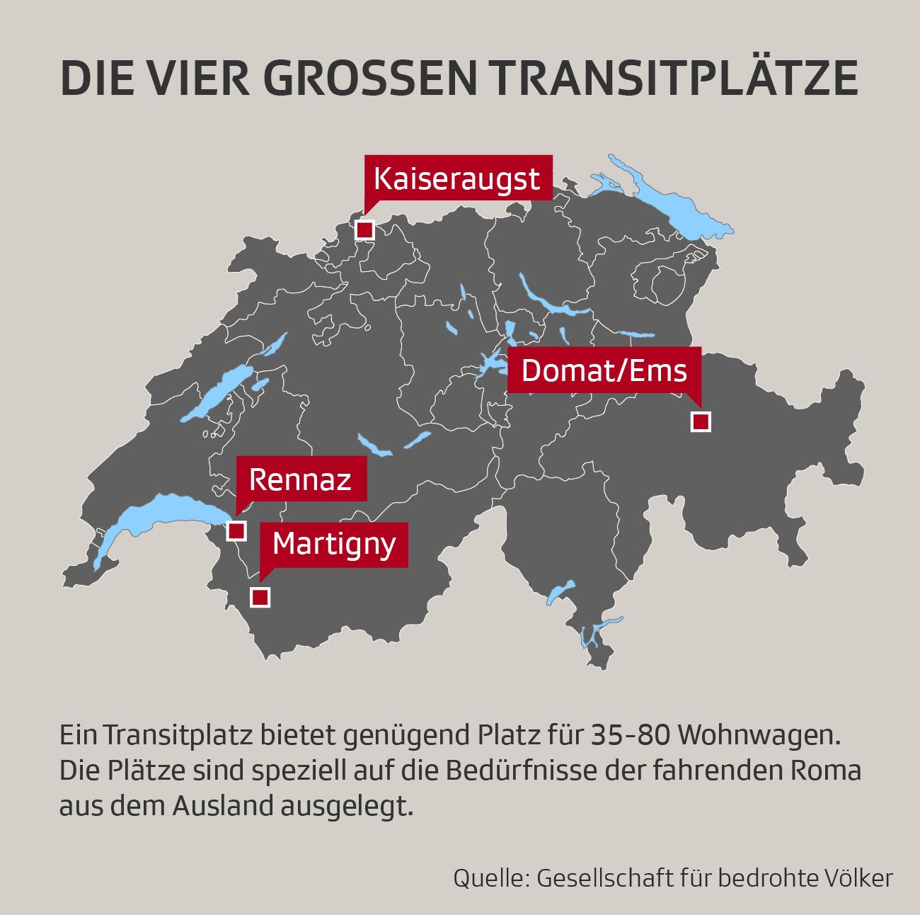 Infografik zu den Roma-Transitplätzen in der Schweiz