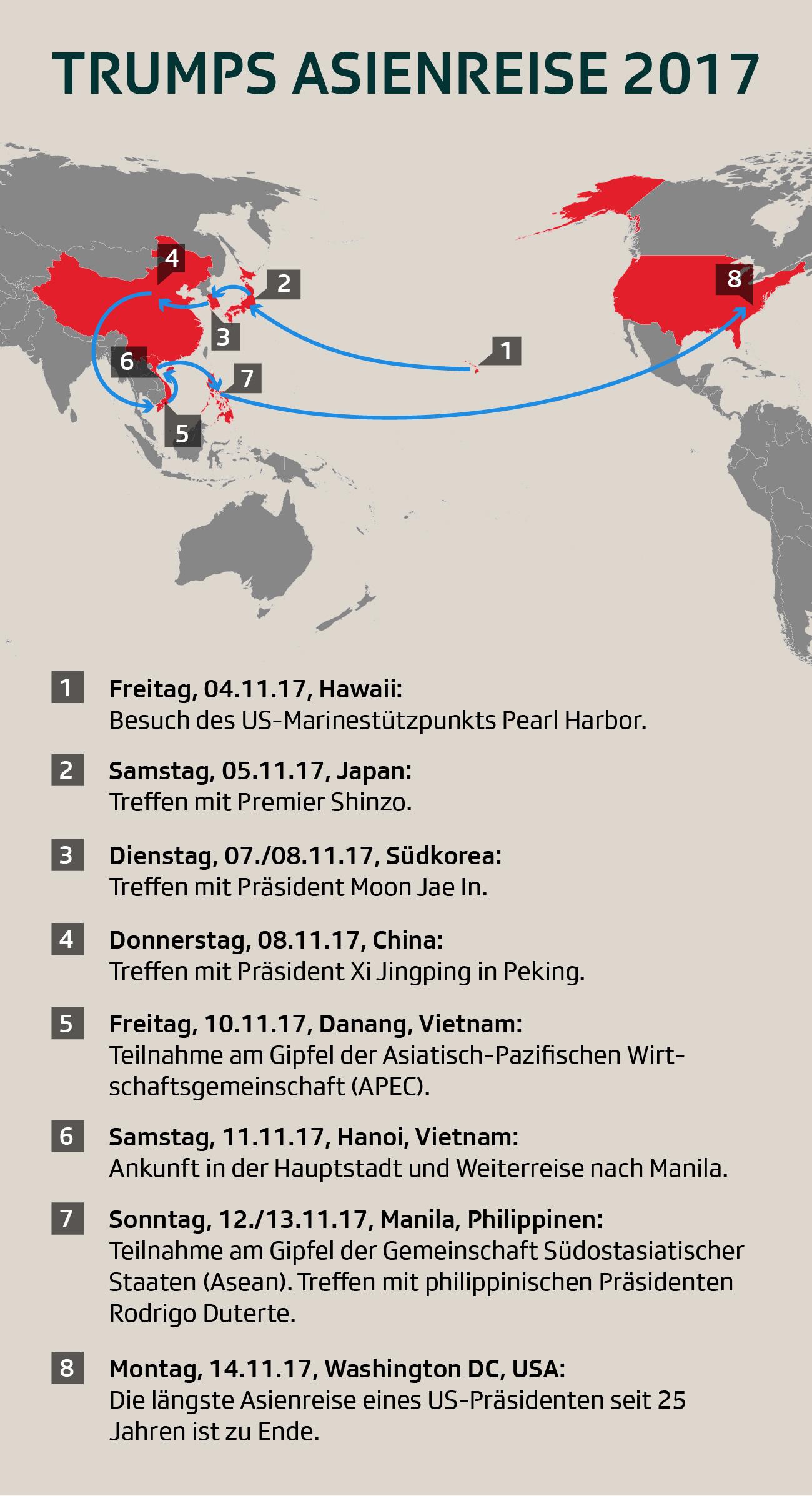 Die Stationen von Trumps Asienreise