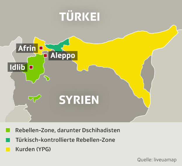 Syrien Karte Aktuell 2018.Turken Offensive Gegen Kurden Das Sind Die Fronten In