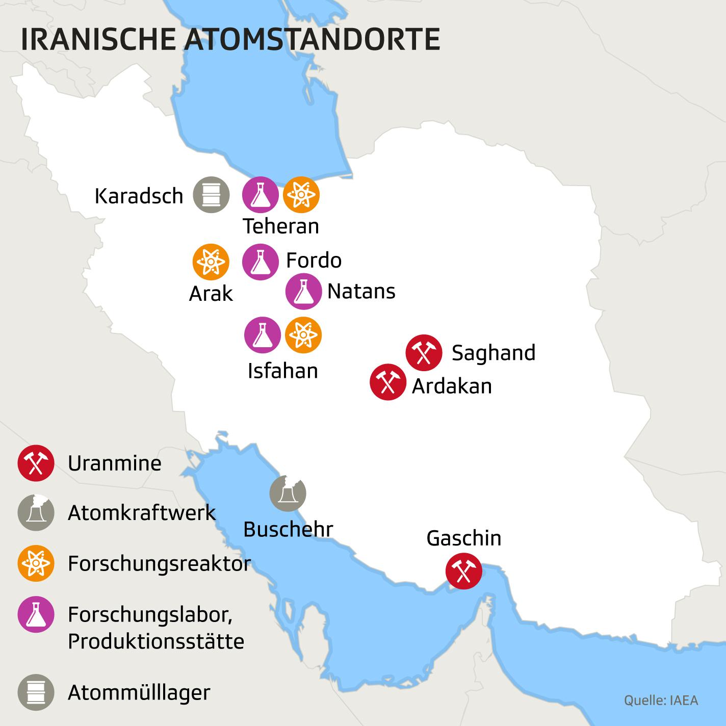 Karte des Iran mit Atomstandorten