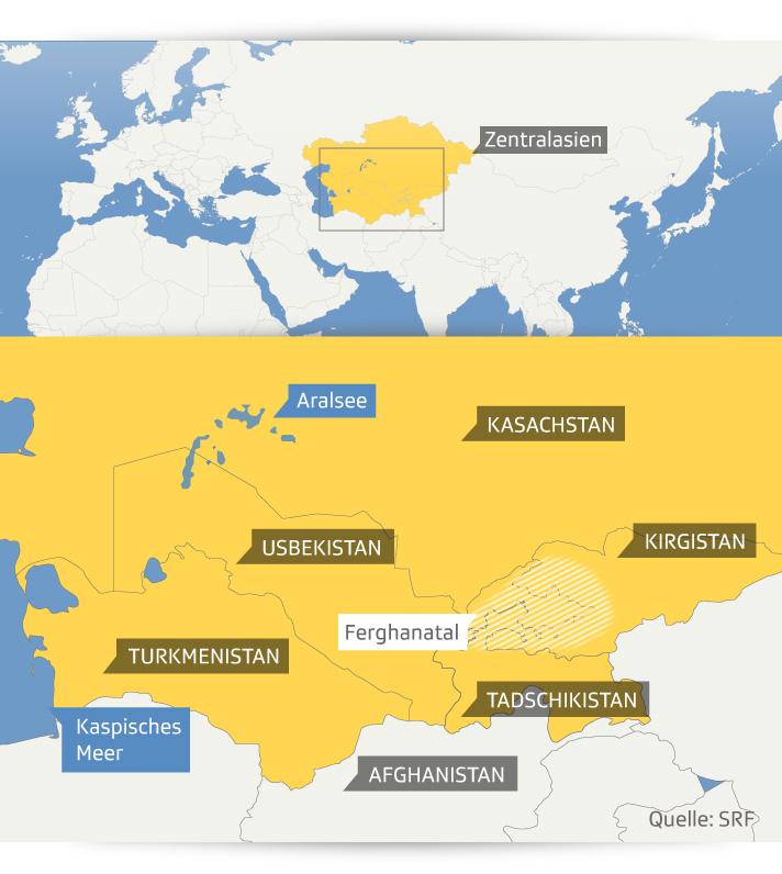 Karte von Aerghanatal und Aralsee