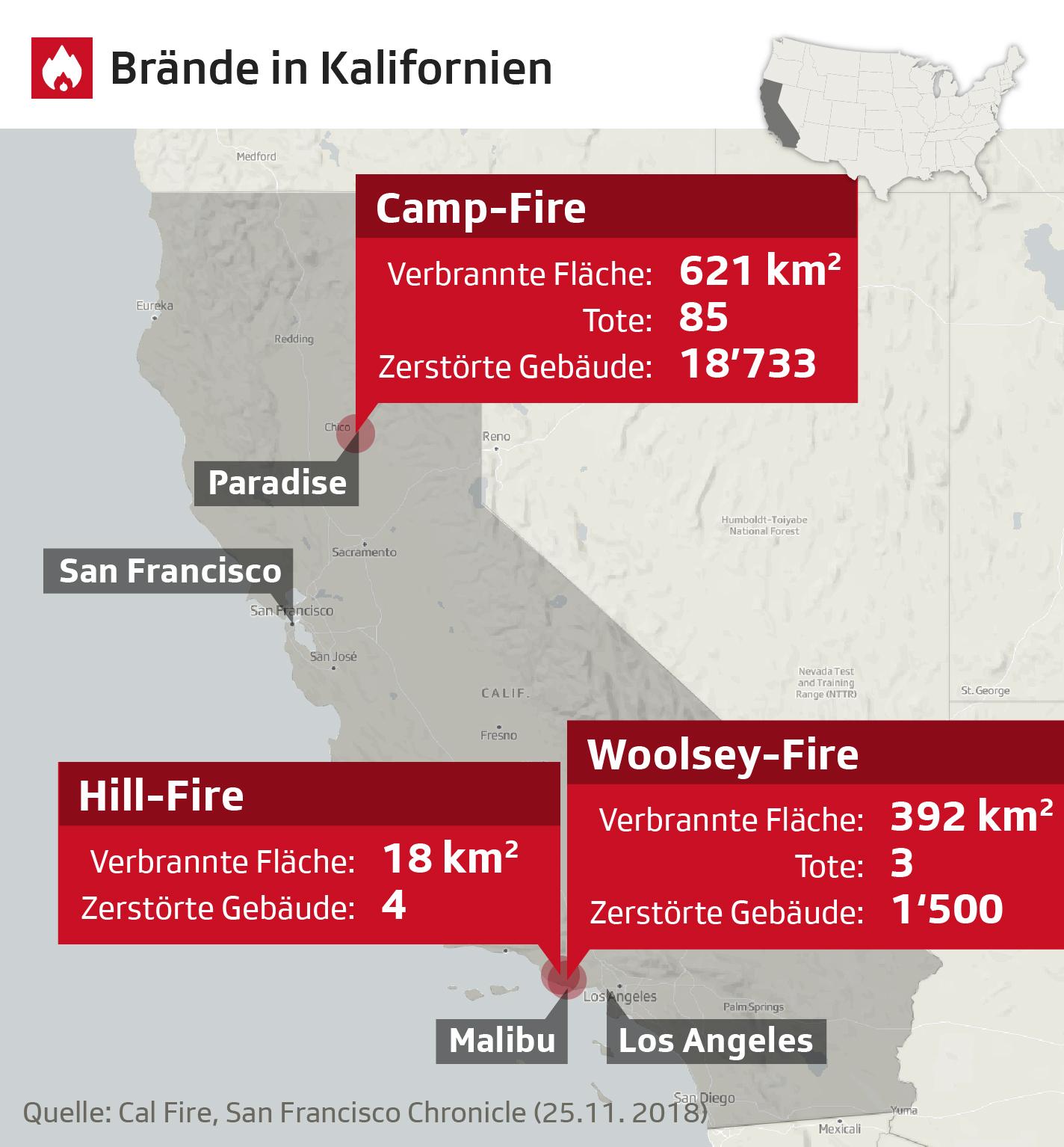 Karte Kaliforniens mit den Brandorten und Zahlen zu Opfern und Schäden