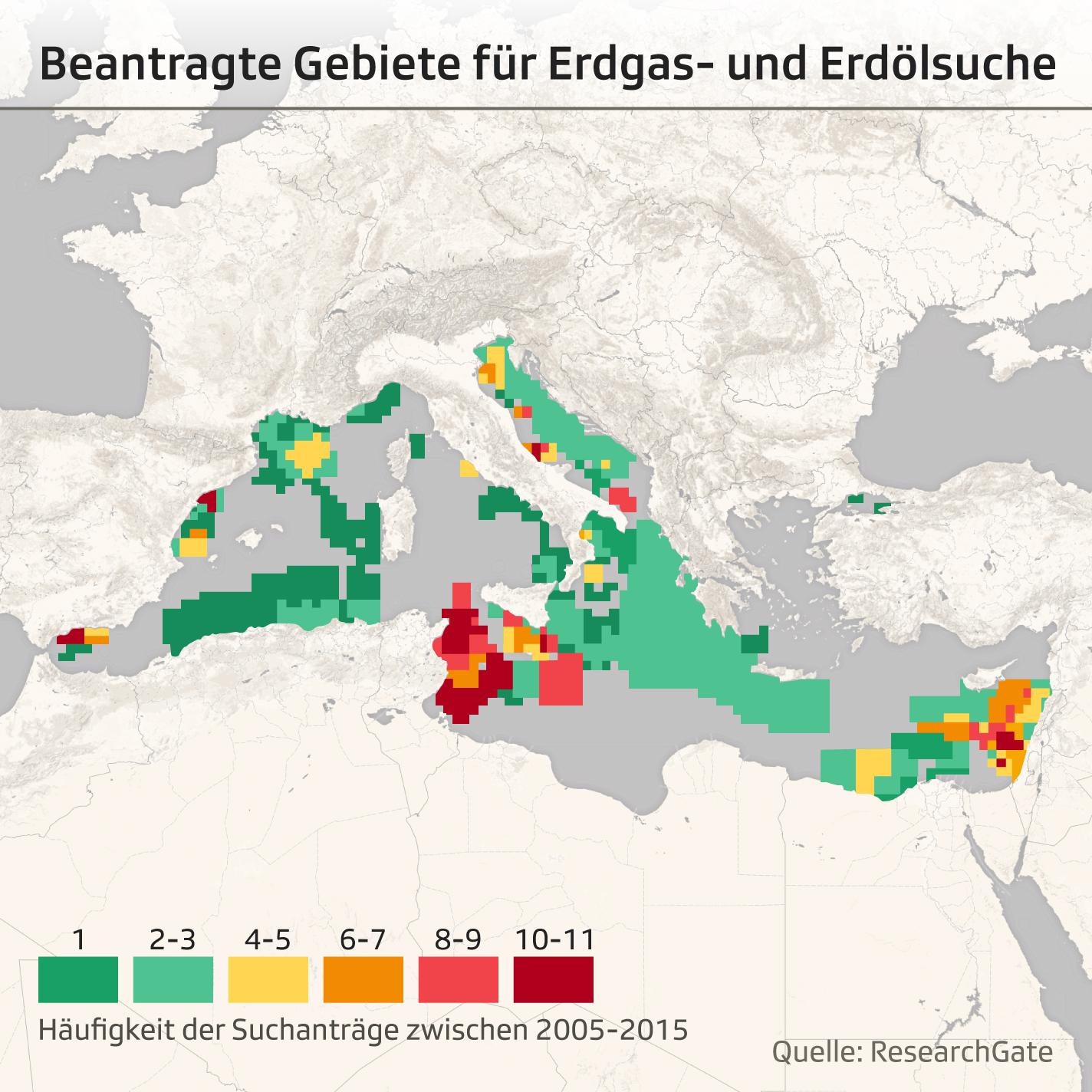Kartenausschnitt Mittelmeerregion mit Markierung von Erdöl- und Erdgassuchregionen