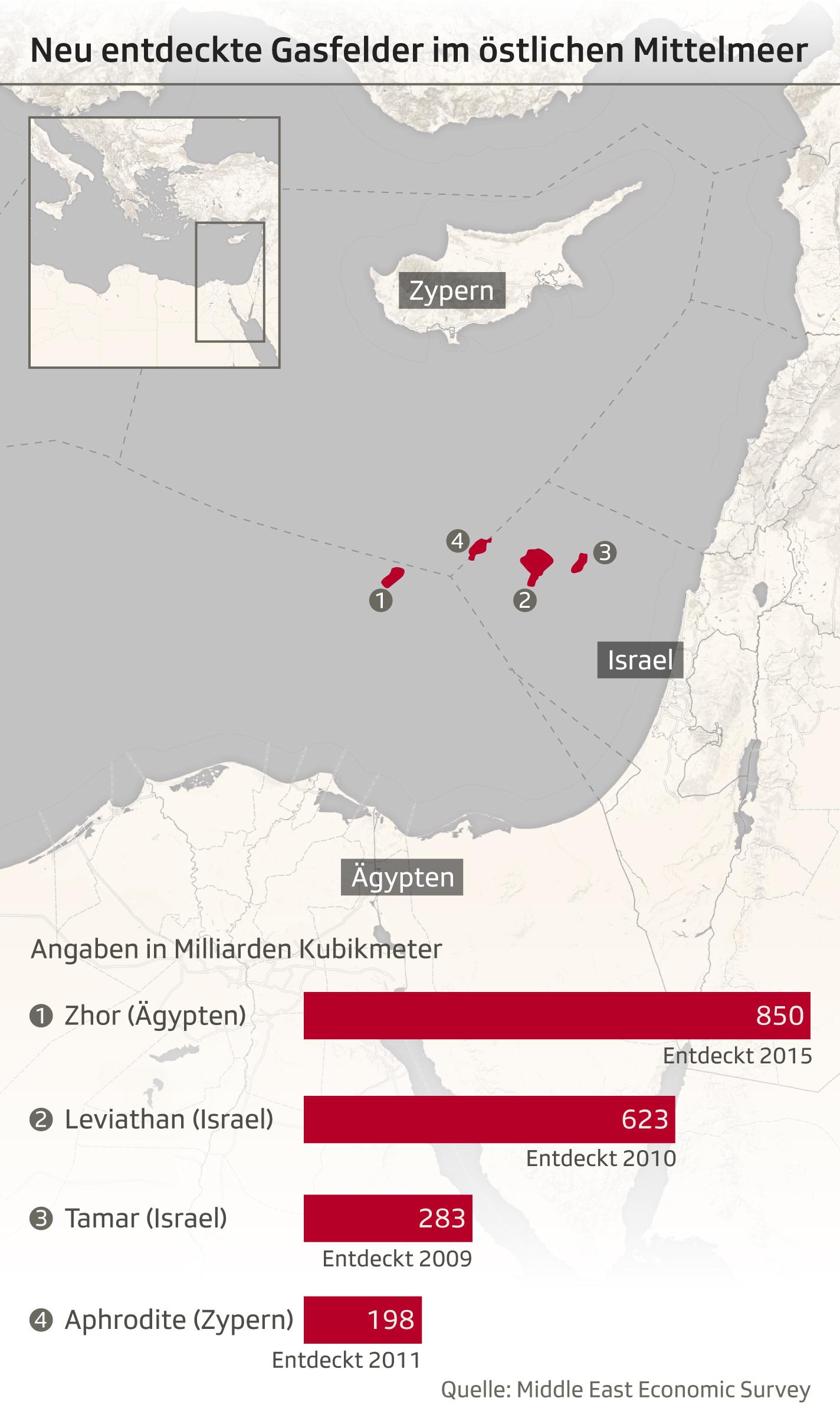 Kartenausschnitt östliches Mittelmeer mit neu entdeckten Gasfeldern