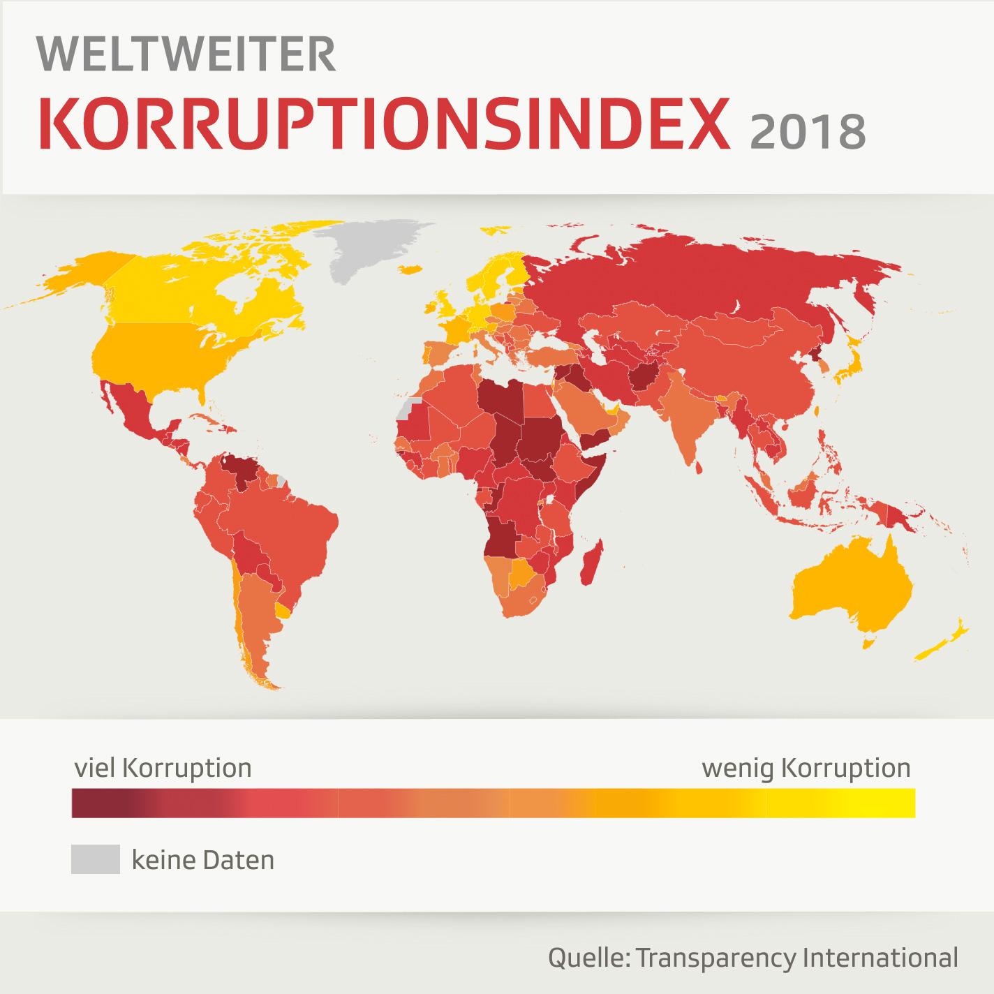 Weltkarte mit farblich markierten Ländern je nach Grad der Korruption