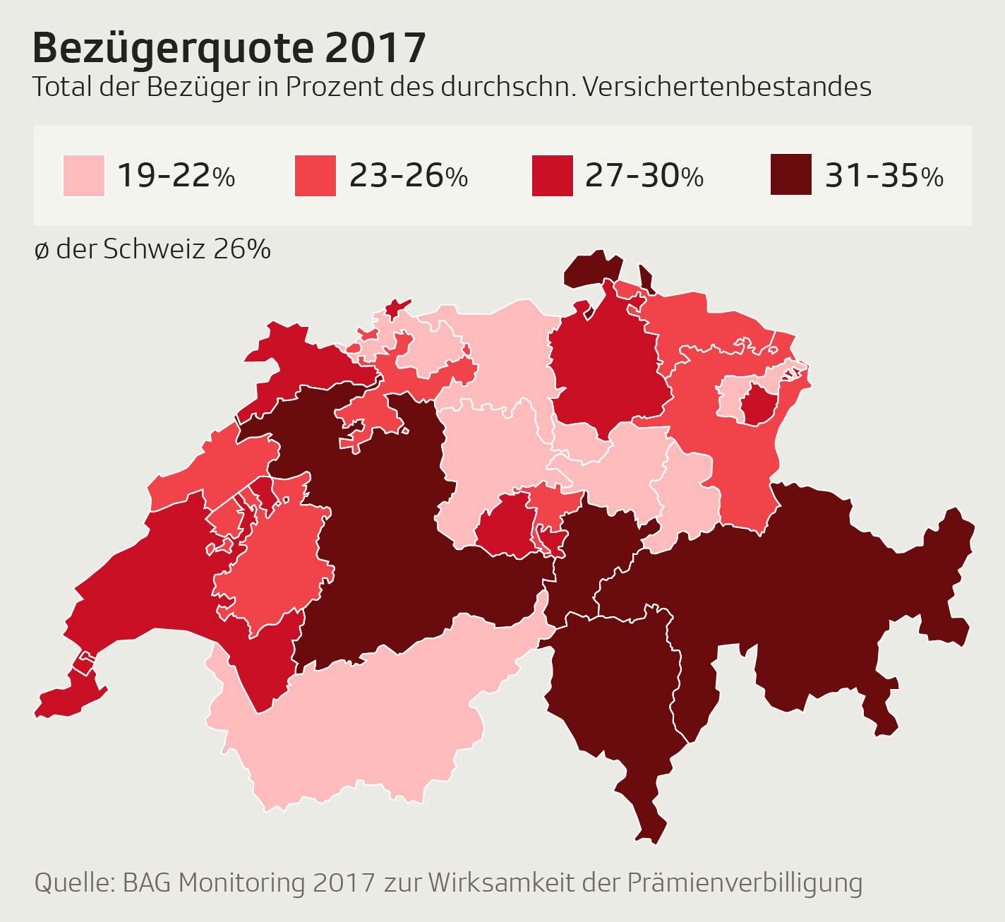 Karte der Schweiz mit farblicher Unterscheidung der Kantone nach Höhe der Bezieher der Prämienverbilligung