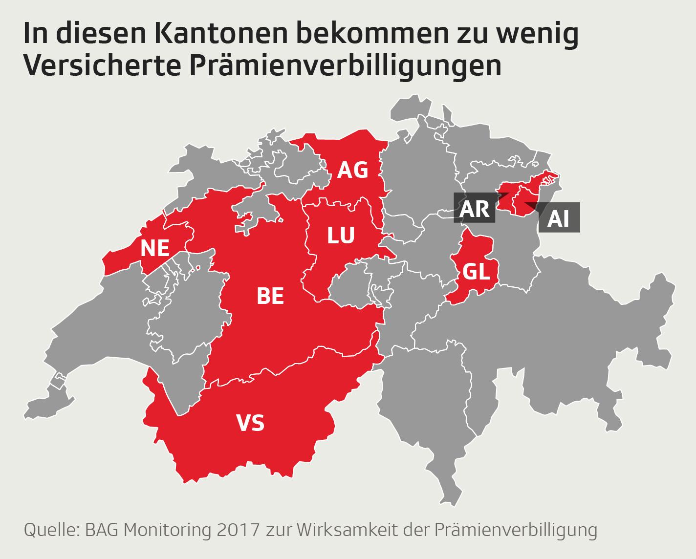 Schweizer Karte mit markierten Kantonen mit zu niedriger Einkommensgrenze