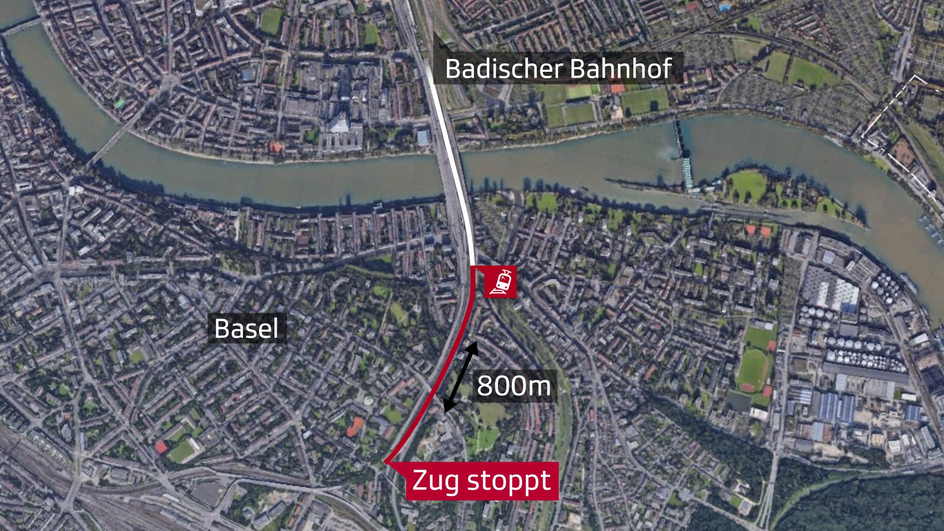 Luftbild von Basel mit Markierung auf Unfallort des ICE
