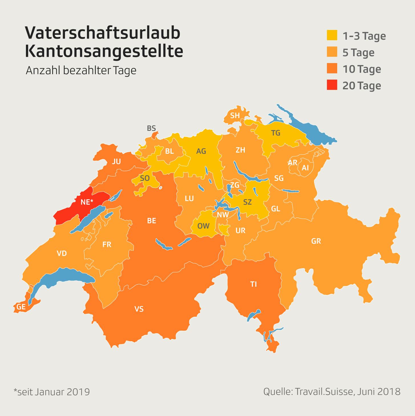 Infografik Vaterschaftsurlaub Kantonsangestellte
