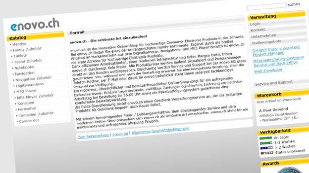 Enovo.ch: Schlechter Kundenservice und Lieferschwierigkeiten