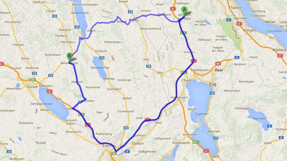 Route wählen: Autobahn oder Kantonsstrasse?