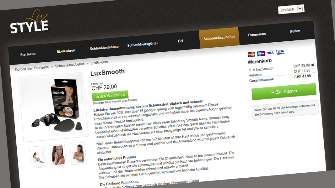 Stylelux.ch: Ein Internetshop mit vielen Tücken