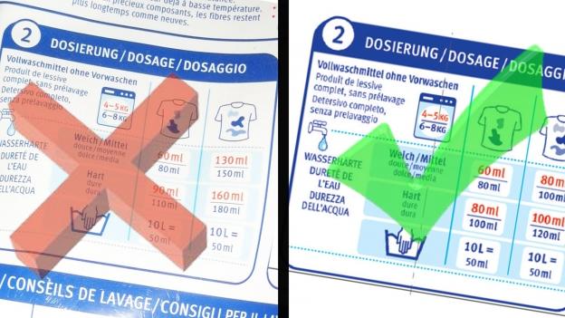 Migros-Waschmittel mit Druckfehler bei Dosier-Angaben