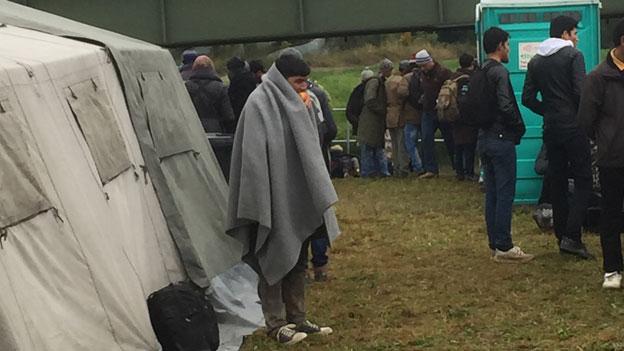 Es ist kalt an der deutschen Grenze