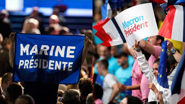 Letzter grosser Auftritt von Le Pen und Macron vor der Wahl