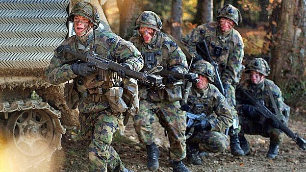 Russische Militärvertreter inspizieren die Schweizer Armee