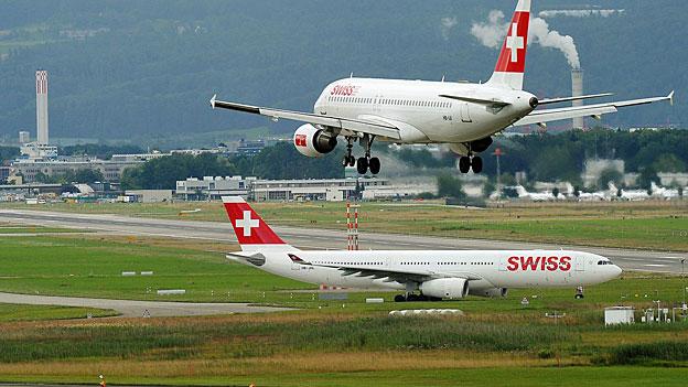 «Südstarts geradeaus» auf dem Flughafen Zürich-Kloten
