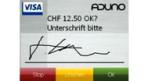 Die elektronische Unterschrift beim Bezahlen mit der Kreditkarte.