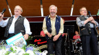 Das Trio Eugster, v.l.n.r.: Vic, Alex und Guido beim Heirassa Festival in Weggis, Juni 2011.