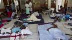 Cholera-Patienten in einem überfüllten Krankenhaus.