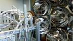 Durch ein Quarzglas scheint das Sonnenlicht in die Reaktorkammer.
