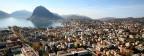 Panorama von Lugano mit Universitäts-Campus (unten links).
