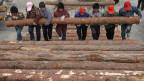 Arbeiter auf einem Holzmarkt in China.