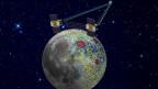 Diese Grafik zeigt, wie das Sondenpaar der Grail-Mission das Schwerefeld des Mondes vermisst.