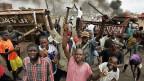 Ethnische Unruhen in der Stadt Kiumu.