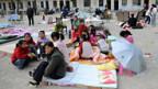 In der Provinz Shaanxi flüchten die Bewohner ins Freie.