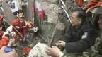 Live im TV: Ministerpräsident Wen Jiabao in Chengdu.