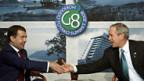 Treffen zwischen Medmedew (l.) und Bush.