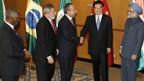 Die Staats- und Regierungschefs der Schwellenländer Südafrika, Brasilien, Mexico, China und Indien.